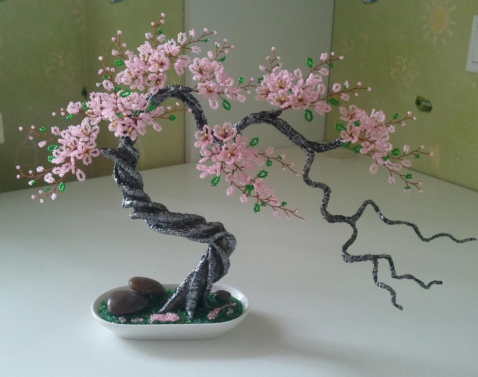 Деревья сакура из бисера мастер класс с пошаговым